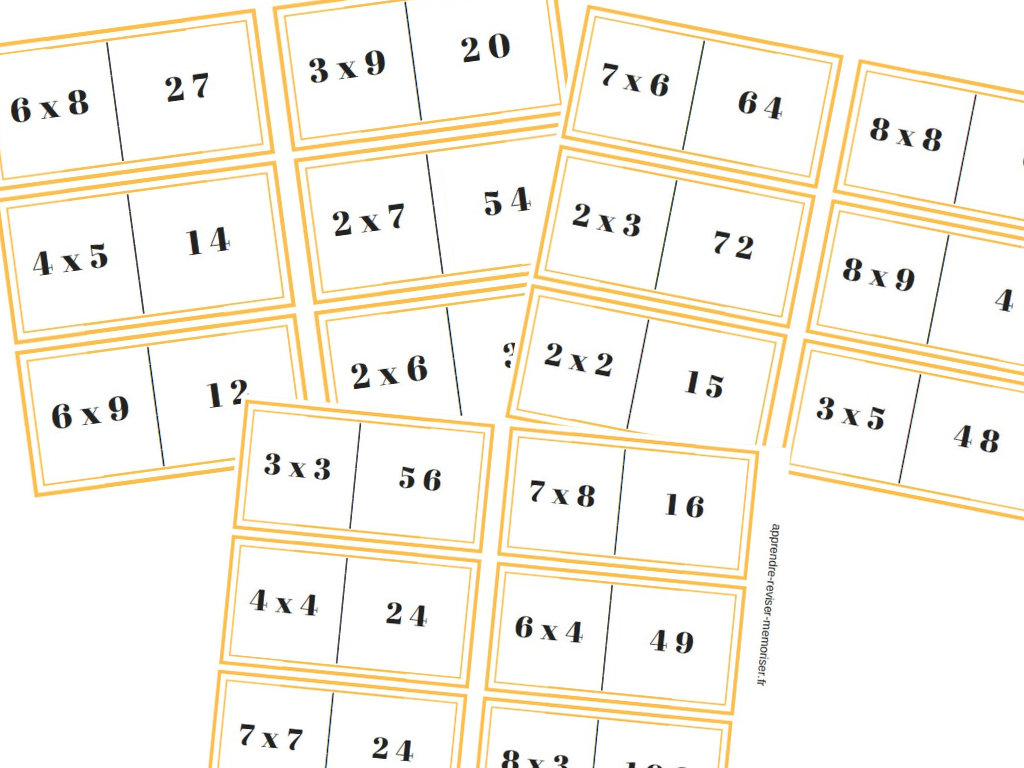 Dominos de multiplication m moriser les tables de - Domino table de multiplication ...