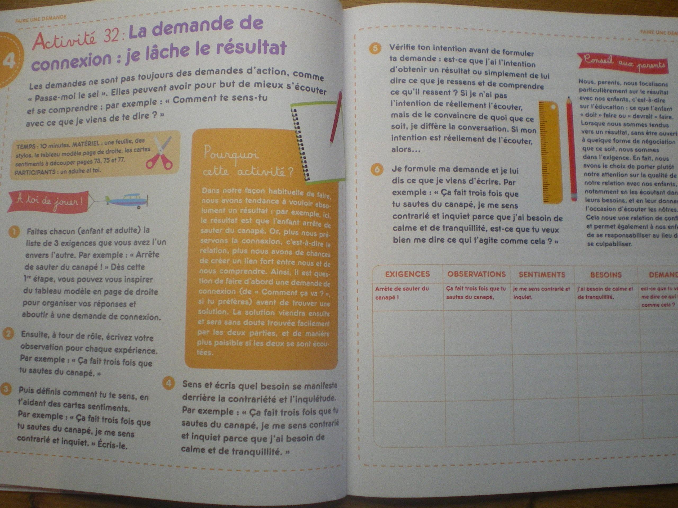 cahier activités enfants apprendre communication non violente