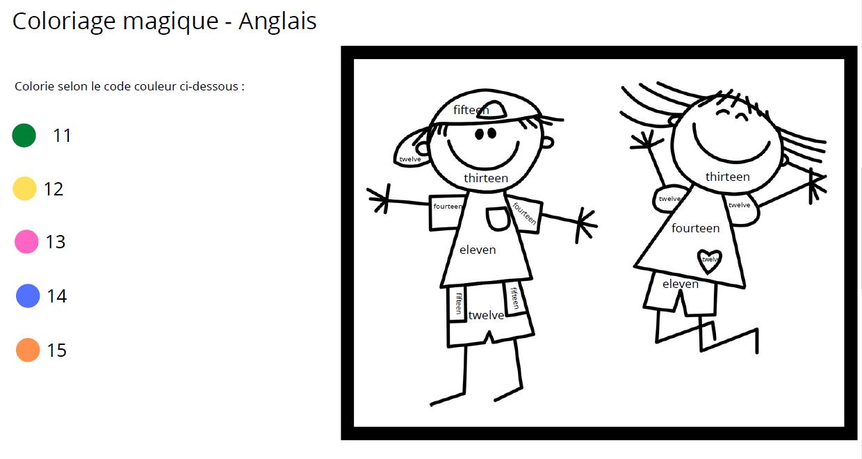 coloriage magique anglais nombre   Apprendre, réviser, mémoriser